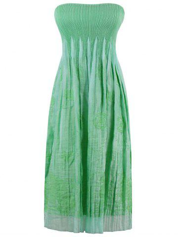 Fashion Smocked Embroidered Strapless Dress APPLE GREEN ONE SIZE