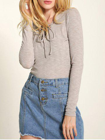 New Long Sleeve Front Lace-Up Knitwear