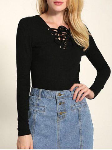 Long Sleeve Front Lace Up Knitwear - Black - M