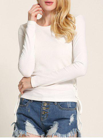 Store Long Sleeve Side Lace Up Knitwear WHITE M