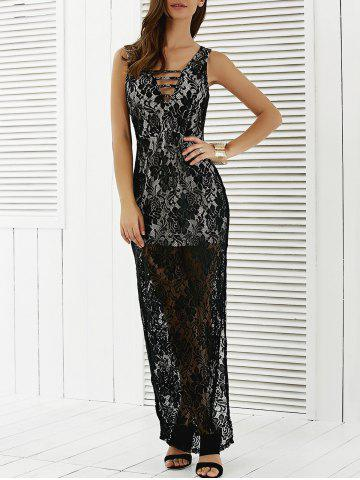 Lace See Through High Slit Maxi Prom Dress - Black - S