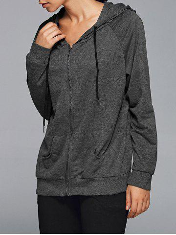 Discount Zipper Hooded Running Jacket - L DEEP GRAY Mobile