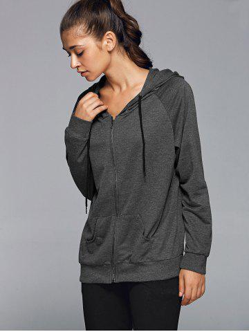 Affordable Zipper Hooded Running Jacket - L DEEP GRAY Mobile