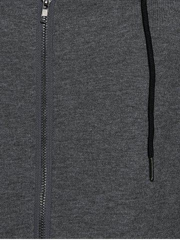Online Zipper Hooded Running Jacket - M DEEP GRAY Mobile