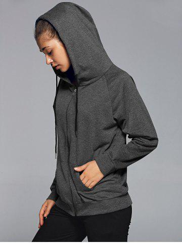 Shops Zipper Hooded Running Jacket - M DEEP GRAY Mobile