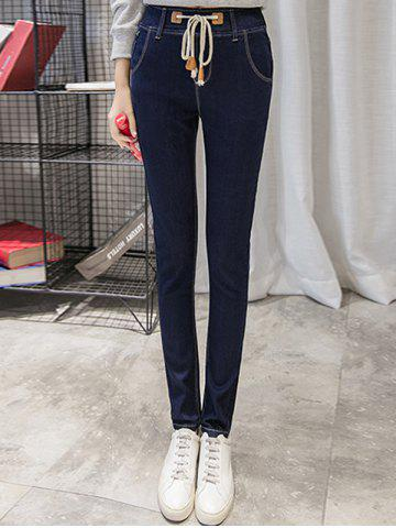 Outfits Drawstring Slimming Mid Waist Jeans