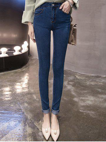 Discount Skinny Mid Waist Hemming Jeans