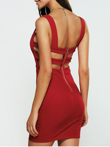 Chic Hollow Out Backless Bandage Caged Mini Club Dress RED S