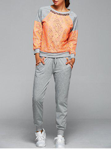 Cheap Lace Spliced Sweatshirt With Running Jogger Pants