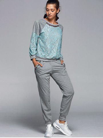 Best Lace Spliced Sweatshirt With Running Jogger Pants - L GREEN Mobile