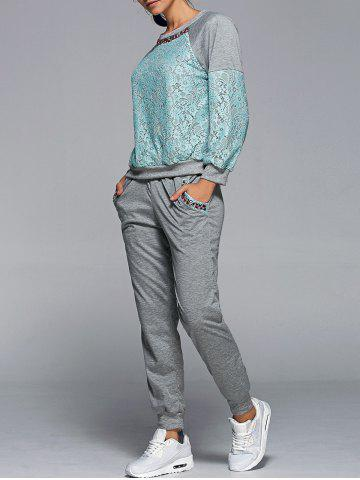 Unique Lace Spliced Sweatshirt With Running Jogger Pants - L GREEN Mobile