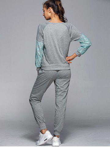 Cheap Lace Spliced Sweatshirt With Running Jogger Pants - L GREEN Mobile