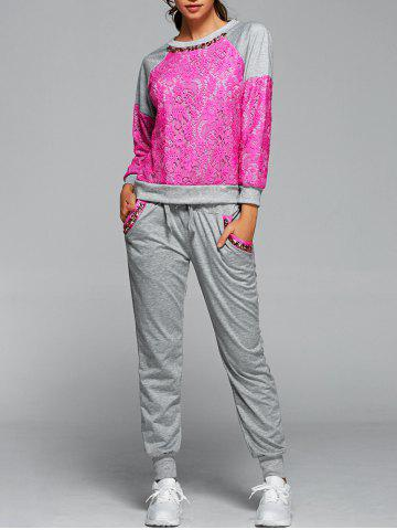 Online Lace Spliced Sweatshirt With Running Jogger Pants