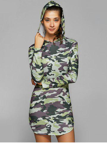 Discount Hooded Long Sleeve Camo Bodycon Dress CAMOUFLAGE L