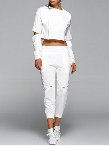 Online Long Sleeve Crop Top and Zippers Harem Pants