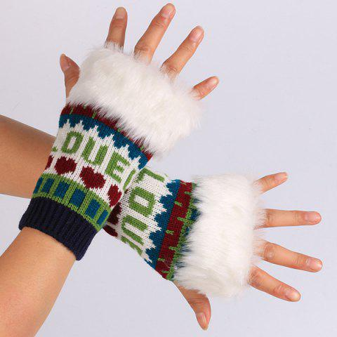 Best Pair of Knitted Love Letter Plush Fingerless Gloves