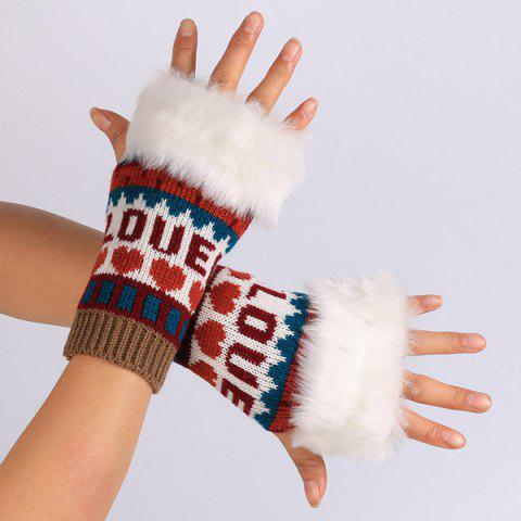 Fancy Pair of Knitted Love Letter Plush Fingerless Gloves WINE RED