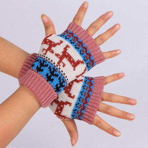 Sale Warmer Knitted Deer Splicing Fingerless Gloves DEEP PINK