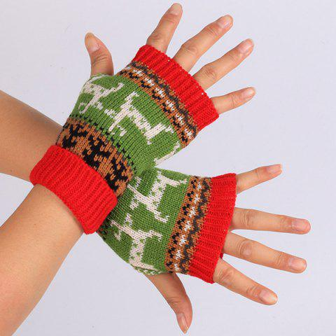 Chic Warmer Knitted Deer Splicing Fingerless Gloves RED