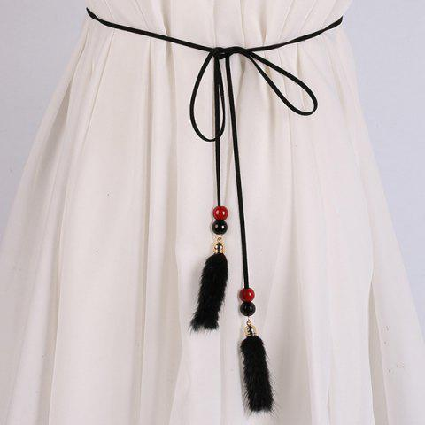 Double Bead and Plush Tassel Waist Rope - Black