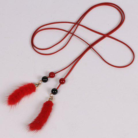 Hot Double Bead and Plush Tassel Waist Rope - RED  Mobile