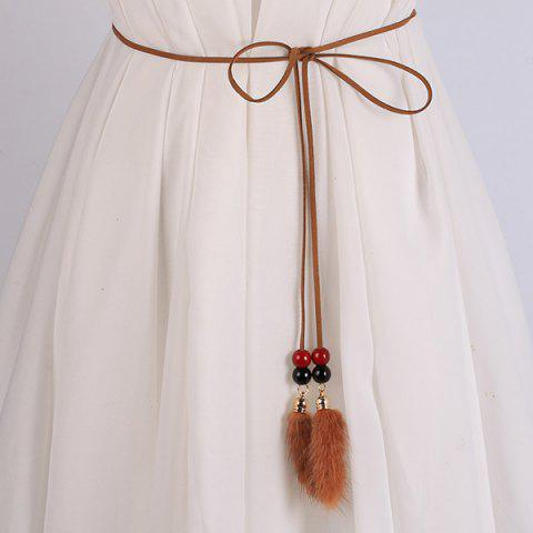 Hot Double Bead and Plush Tassel Waist Rope BROWN