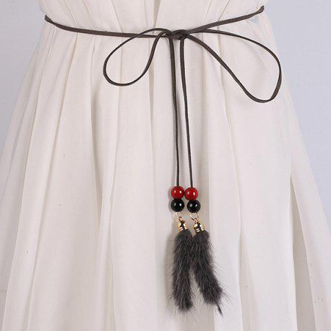 Fashion Double Bead and Plush Tassel Waist Rope - GRAY  Mobile