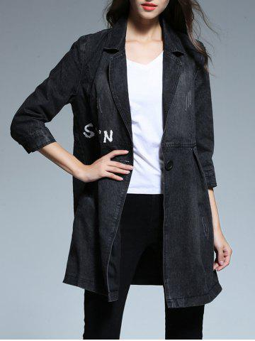 Shops Denim Buttoned Letter Print Trench Coat