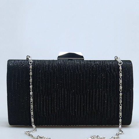 Trendy Clip Rhinestone Chains Pleated Evening Bag - SILVER  Mobile