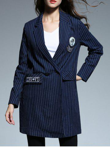 Trendy Striped Patched Blazer