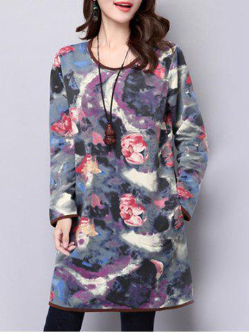 Unique Long Sleeve Loose Abstract Print Dress