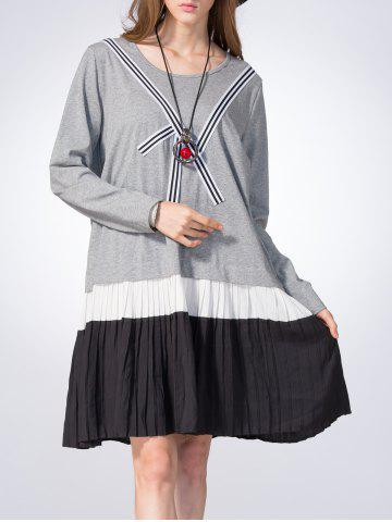 Affordable Loose Color Block Pleated Dress