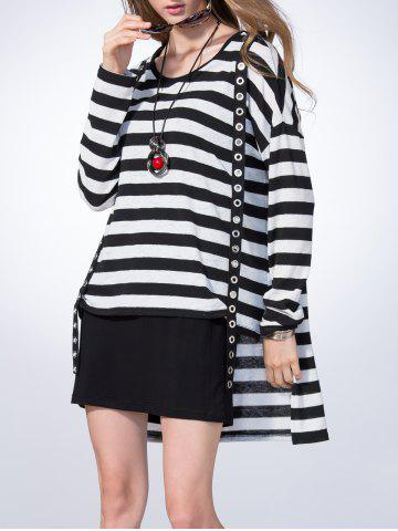 Sale Loose Striped High-Low T-Shirt and Straight Dress