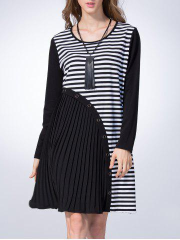 Discount Loose Asymmetrical Stripe Straight Dress