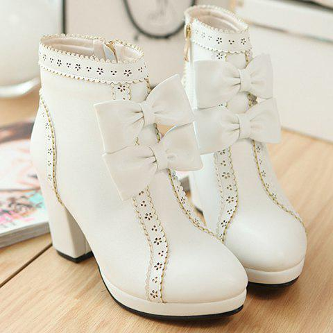 Store Chunky Heel Bowknot Scalloped Engraving Ankle Boots