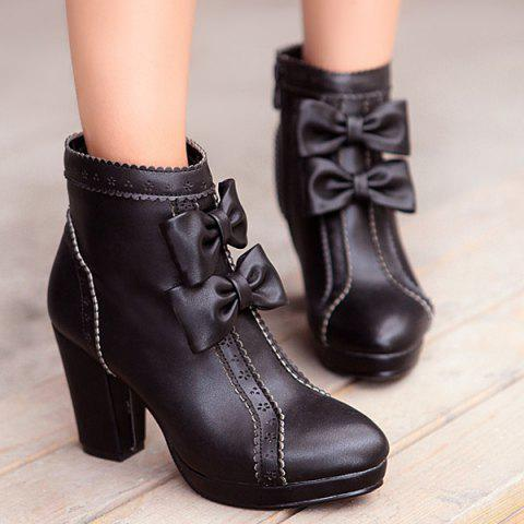 Chunky Heel Bowknot Scalloped Engraving Ankle Boots - Black - 39