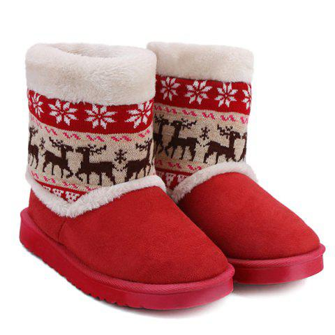New Knitted Snowflake Deer Flock Snow Boots