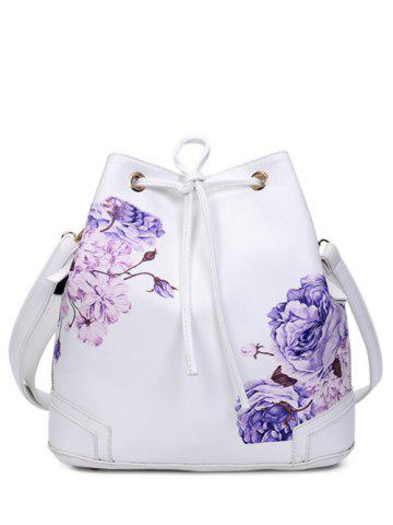 Hot Side Zip Peony Print Drawstring Backpack