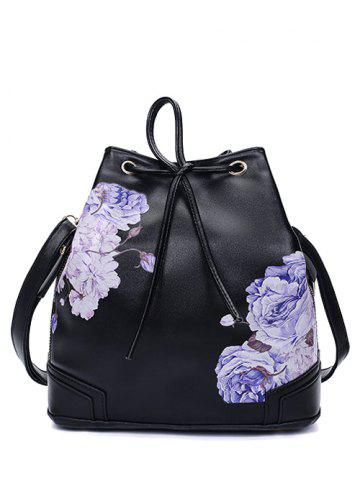 Side Zip Pivoine Imprimer Drawstring Backpack