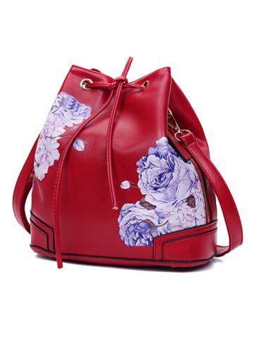Outfits Side Zip Peony Print Drawstring Backpack - RED  Mobile