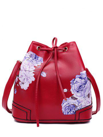 Cheap Side Zip Peony Print Drawstring Backpack - RED  Mobile