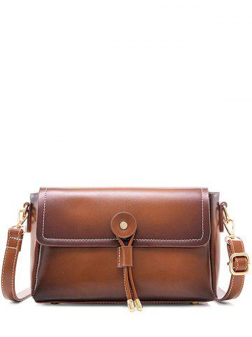 Discount Vintage PU Leather Stitching Crossbody Bag