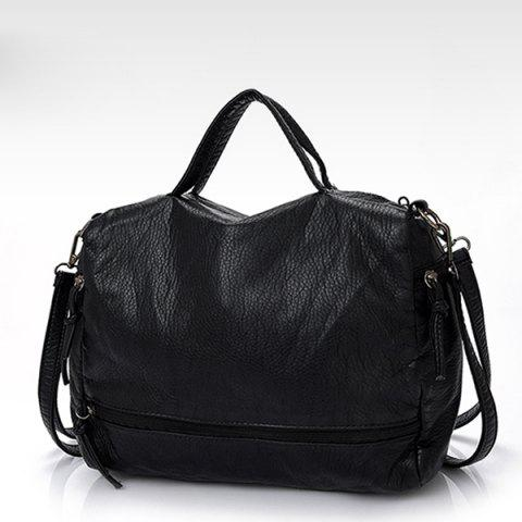 Outfit Zip Closure Washable Leather Tote Bag - BLACK  Mobile