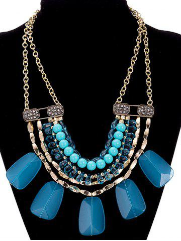 Unique Faux Crystal Alloy Rhinestone Beaded Necklace NAVY BLUE