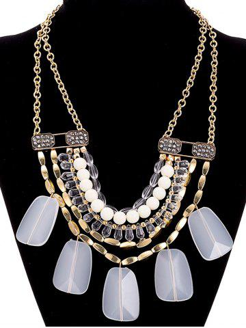 Discount Faux Crystal Alloy Rhinestone Beaded Necklace