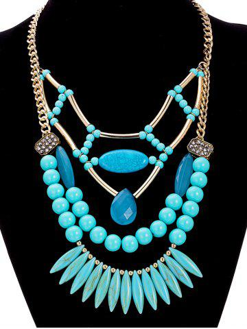 Fashion Alloy Geometric Water Drop Beaded Necklace GREEN