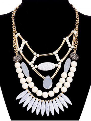 Hot Alloy Geometric Water Drop Beaded Necklace