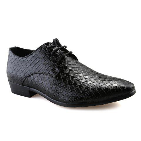 Pointed Toe Woven Pattern Tie Up Formal Shoes