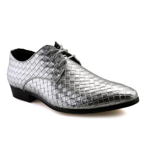 Cheap Pointed Toe Woven Pattern Tie Up Formal Shoes SILVER 41