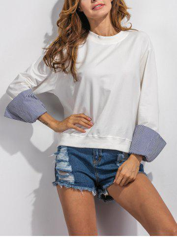 Discount Stripe Spliced Loose Sweatshirt